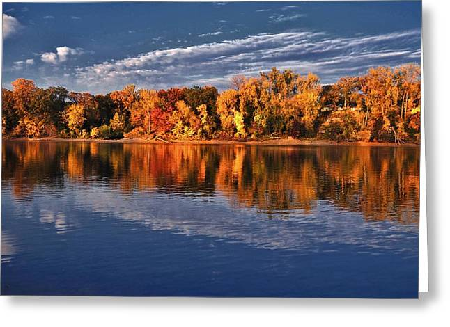 Fall River Scenes Mixed Media Greeting Cards - Fall on the Mississippi river Greeting Card by Todd and candice Dailey