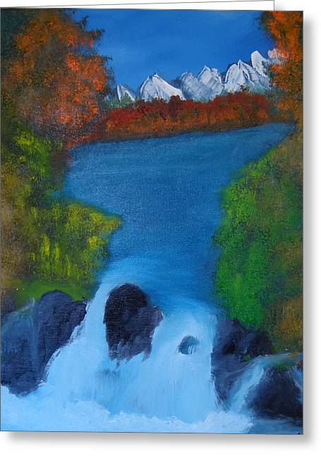 Rivers In The Fall Paintings Greeting Cards - Fall over the rocks. Greeting Card by  Reed Nelson