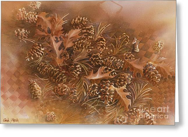 Fall pinecones Greeting Card by Paula Marsh