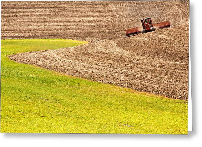 Contour Plowing Greeting Cards - Fall Plowing Greeting Card by Latah Trail Foundation