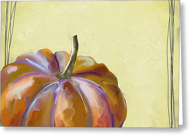 Pumpkins Greeting Cards - Fall Pumpkin Greeting Card by Cathy Walters