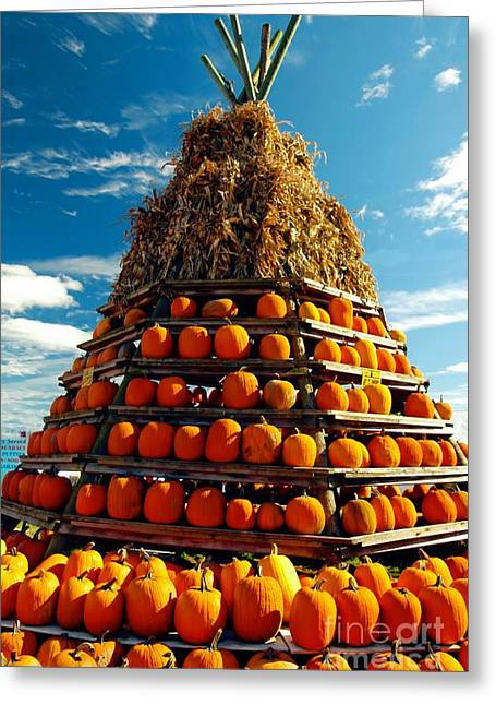 Grey Clouds Greeting Cards - Fall Pumpkins Greeting Card by Kathleen Struckle