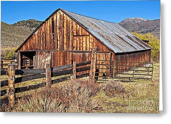 Cattle-shed Greeting Cards - Fall Range Barn Greeting Card by L J Oakes
