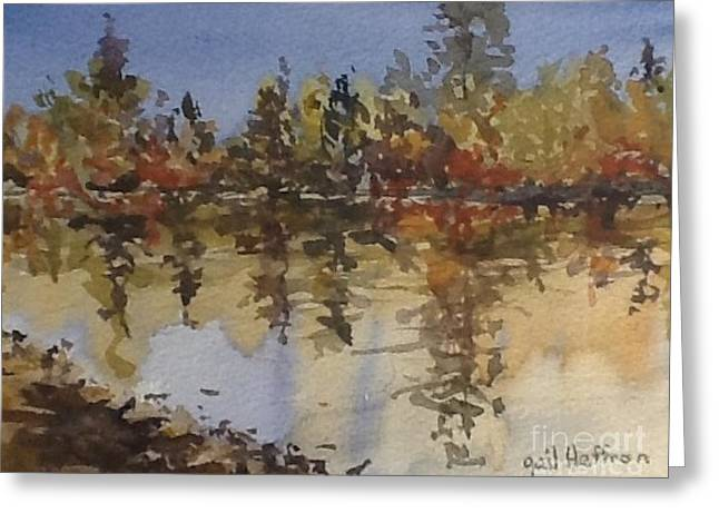 Trees Reflecting In Water Paintings Greeting Cards - Fall Reflected Greeting Card by Gail Heffron