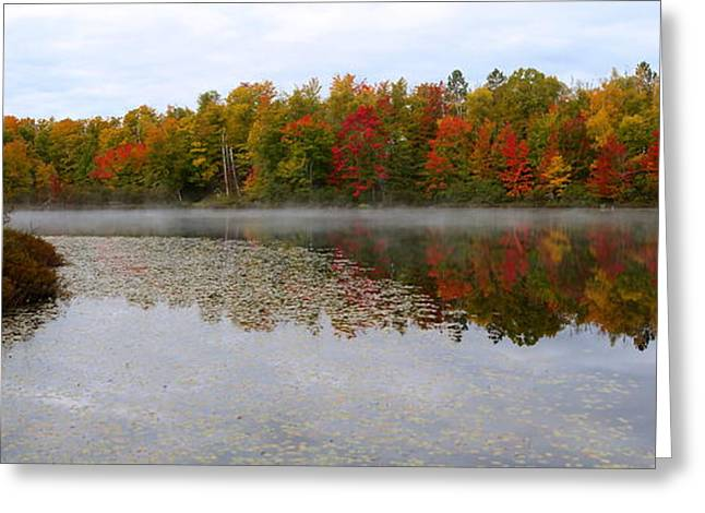 Fog Mist Mixed Media Greeting Cards - Fall Reflection Greeting Card by Nancy TeWinkel Lauren