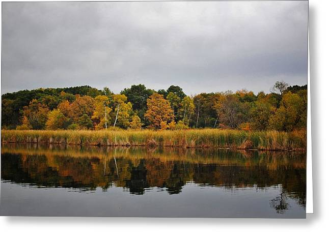 Park Scene Mixed Media Greeting Cards - Fall Reflections Greeting Card by Todd and candice Dailey