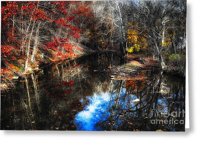 Fall Reflections In A Canal Greeting Card by George Oze