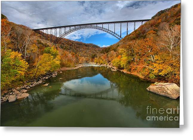 Famous Bridge Greeting Cards - Fall Reflections In The New River Greeting Card by Adam Jewell