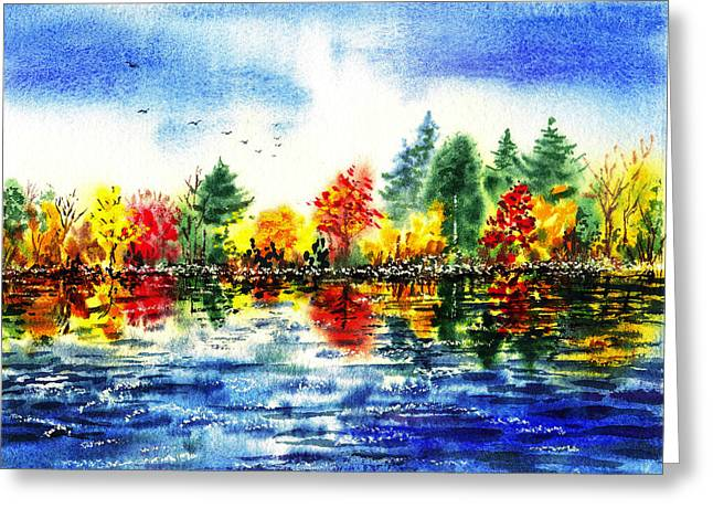 Fall Scenes Greeting Cards - Fall Reflections Greeting Card by Irina Sztukowski