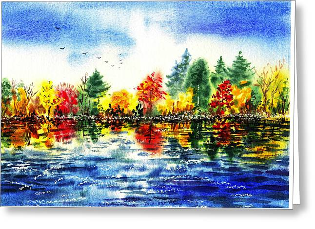 Autumn Scenes Greeting Cards - Fall Reflections Greeting Card by Irina Sztukowski