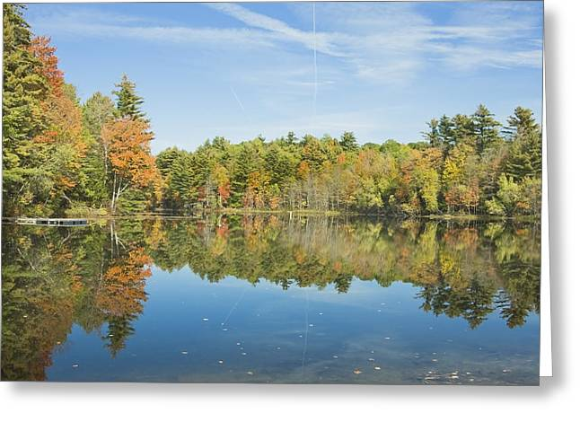 Maine Landscape Greeting Cards - Fall Reflections on Torsey Pond Readfield Maine Greeting Card by Keith Webber Jr