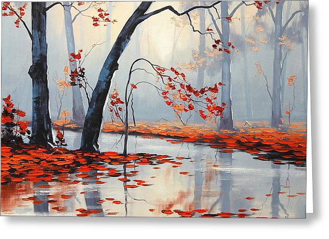 Blaze Greeting Cards - Fall River Painting Greeting Card by Graham Gercken