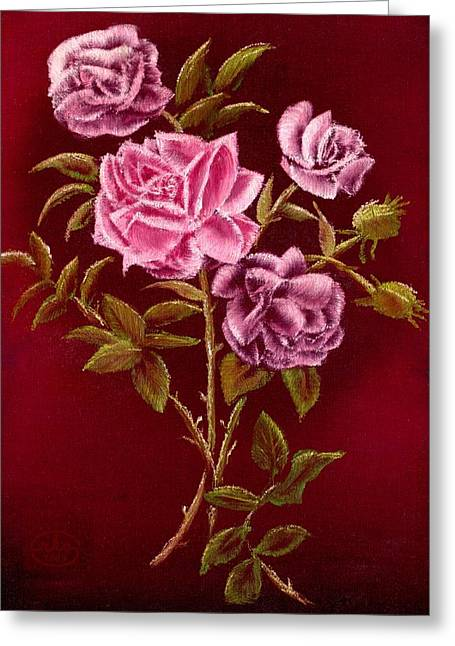 Open Window Paintings Greeting Cards - Fall Roses Greeting Card by Ronald Chambers