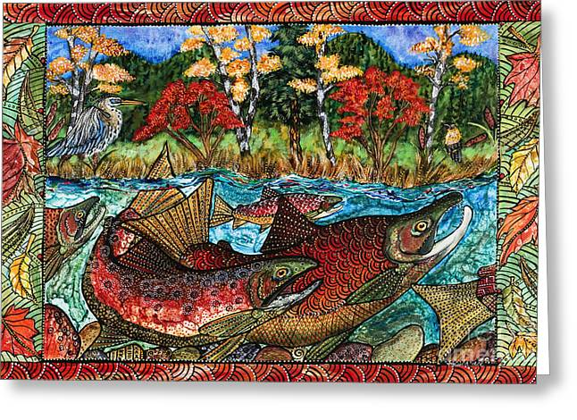 Cole Paintings Greeting Cards - Fall Salmon Greeting Card by Melissa Cole