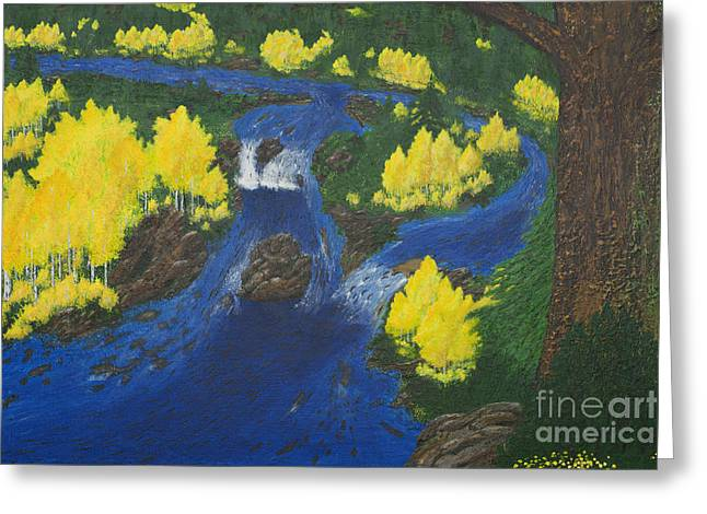 Salmon Paintings Greeting Cards - Fall Salmon Run Greeting Card by L J Oakes