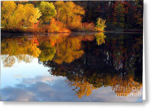 Fall Scene Greeting Card by Olivier Le Queinec