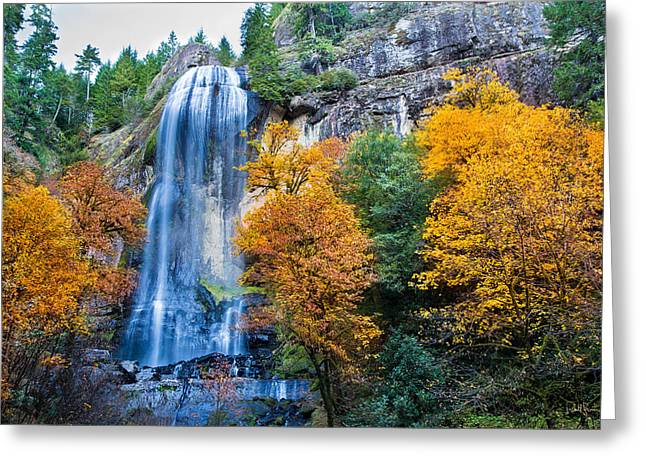Falling Water Greeting Cards - Fall Silver Falls Greeting Card by Robert Bynum