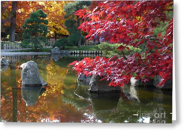 Pond In Park Greeting Cards - Fall Splendor - Digital Painting Greeting Card by Carol Groenen