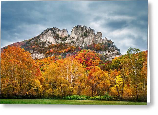Fall Storm Seneca Rocks Greeting Card by Mary Almond