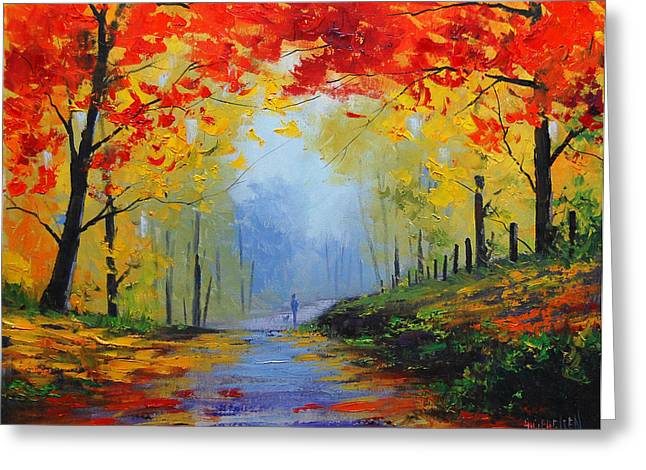 Blaze Greeting Cards - Fall Stroll Greeting Card by Graham Gercken