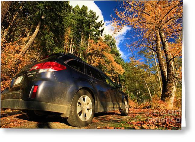Lake Crescent Greeting Cards - Fall Subaru Greeting Card by Adam Jewell