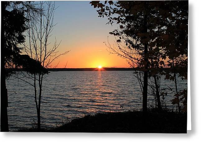 Fall Sunset At Long Lake Greeting Card by Rhonda Humphreys