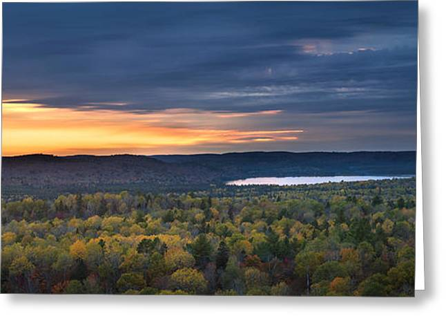 Turning Leaves Photographs Greeting Cards - Fall sunset in wilderness Greeting Card by Elena Elisseeva