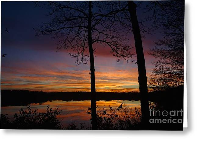 Pulsing Greeting Cards - Fall Sunset Greeting Card by Jacqueline Athmann