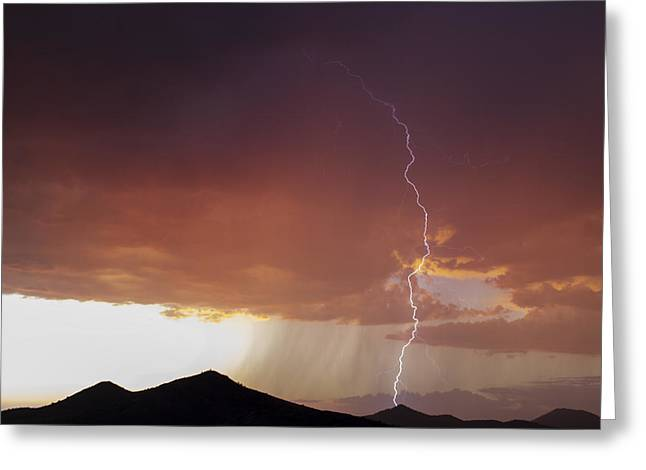 Sunset Posters Greeting Cards - Fall Sunset Lightning Greeting Card by Cathy Franklin