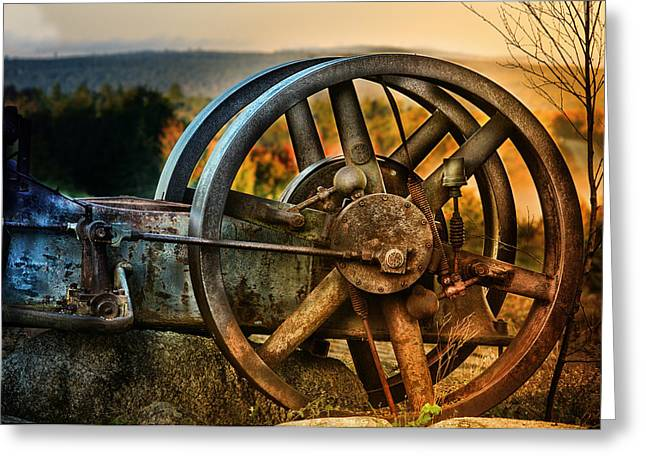 Saw Greeting Cards - Fall Through the Wheels Greeting Card by Susan Capuano