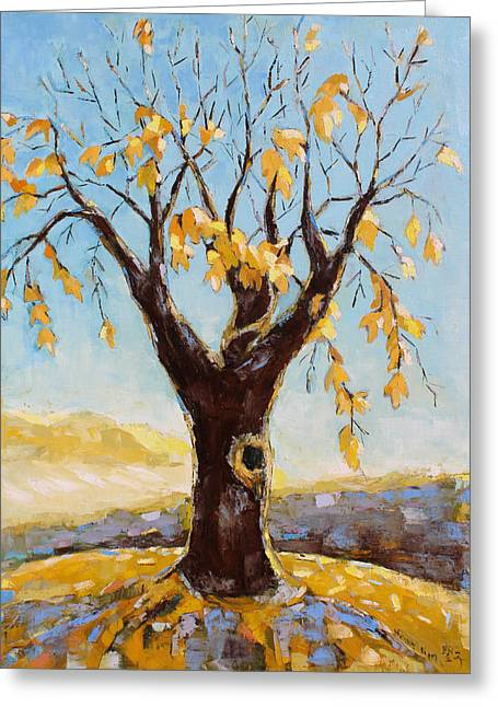 Pallet Knife Greeting Cards - Fall Tree in Virginia Greeting Card by Becky Kim