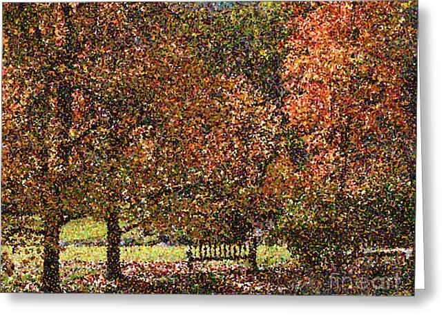 Pointillist Greeting Cards - Fall Trees Greeting Card by Nicholas Burningham