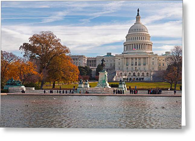 Colors Of Autumn Greeting Cards - Fall View Of Reflecting Pool Greeting Card by Panoramic Images