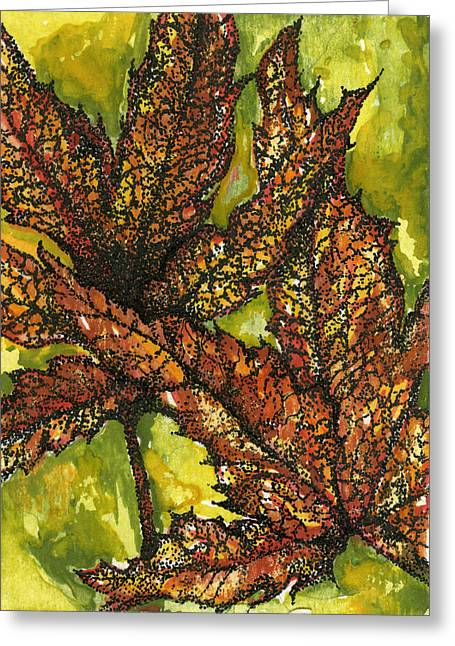 Stippling Paintings Greeting Cards - Fall Watercolor Greeting Card by RK Hammock