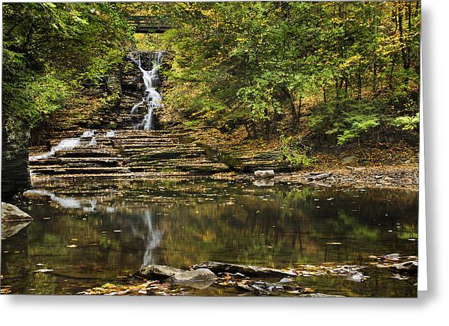 Buttermilk Falls Greeting Cards - Fall Waterfall Creek Reflection Greeting Card by Christina Rollo