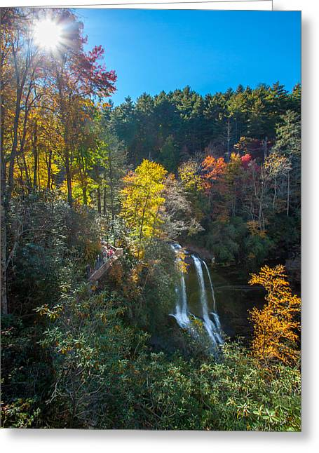 Downtown Franklin Greeting Cards - Fall Waterfall Greeting Card by Donna Vasquez
