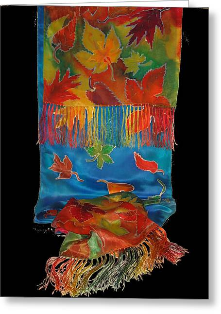 Waterfall Tapestries - Textiles Greeting Cards - Fall Waterfall Scarf Greeting Card by Annelle Woggon
