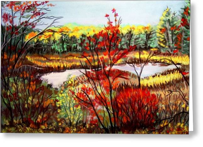 Wetlands Pastels Greeting Cards - Fall wetlands Greeting Card by Ruth  Sears