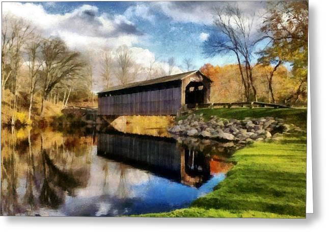 Covered Bridge Greeting Cards - Fallasburg Bridge in Fall Greeting Card by Michelle Calkins