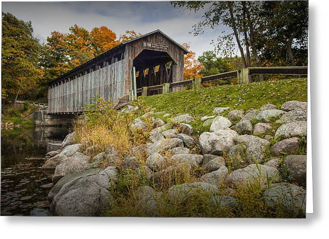 Covered Bridge Greeting Cards - Fallasburg Covered Bridge on the Flat River Greeting Card by Randall Nyhof