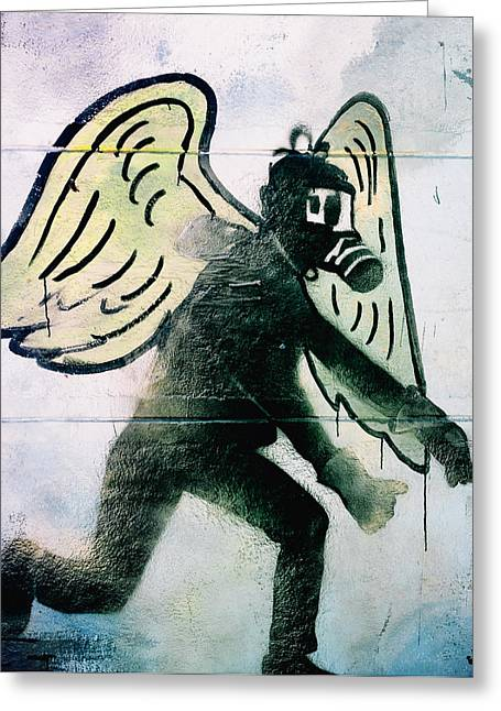 Gasmask Greeting Cards - Fallen angel .. Greeting Card by A Rey
