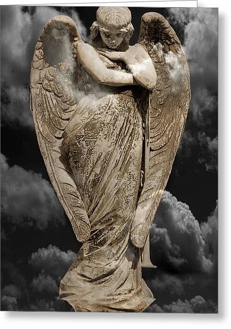 Gold Angel Greeting Cards - Fallen Angel Greeting Card by Steven  Michael