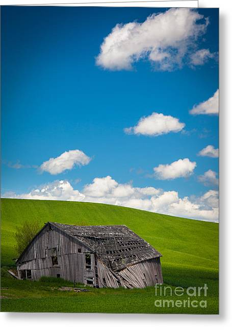 Collapse Greeting Cards - Fallen Barn Greeting Card by Inge Johnsson