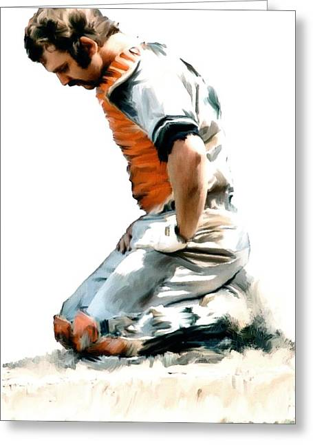Image Drawings Greeting Cards - Fallen Captain  Thurman Munson Greeting Card by Iconic Images Art Gallery David Pucciarelli