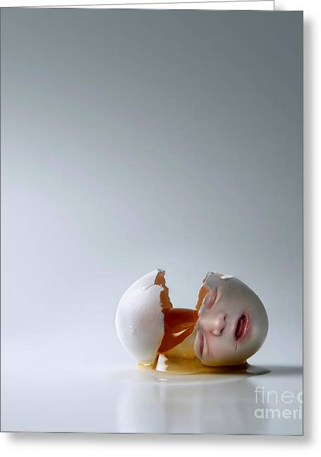Humpty Dumpty Greeting Cards - Fallen Egg Greeting Card by Diane Diederich