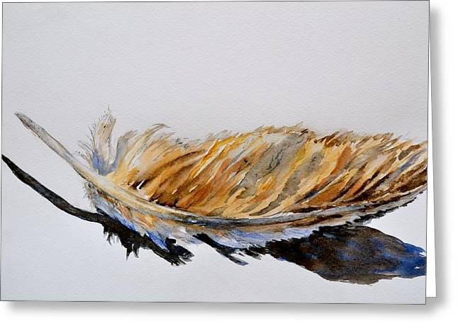 Warm Tones Greeting Cards - Fallen Feather Greeting Card by Beverley Harper Tinsley
