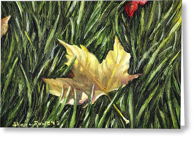 Gold Leave Greeting Cards - Fallen from Grace Greeting Card by Shana Rowe