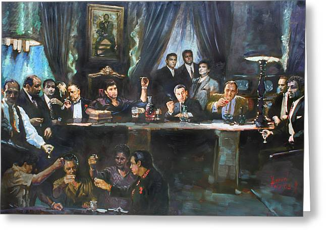 The Tapestries Textiles Greeting Cards - Fallen Last Supper Bad Guys Greeting Card by Ylli Haruni