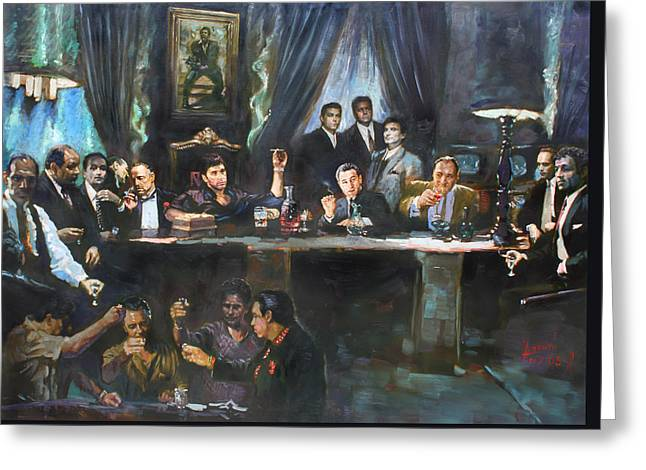 Sonny Corleone Greeting Cards - Fallen Last Supper Bad Guys Greeting Card by Ylli Haruni