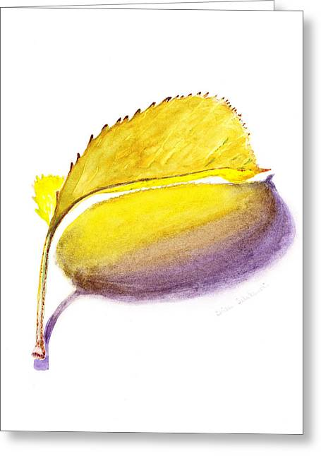 Autumn Prints Greeting Cards - Fallen Leaf Yellow Shadows Greeting Card by Irina Sztukowski